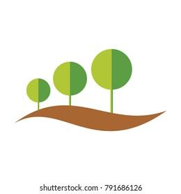 Tree Concept 3D Hills Vector Design