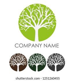 Tree Contour Vector Logo, Vector Tree Silhouette LOGO