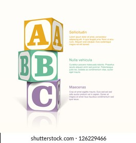 Tree cubes with letters on the sides on a vector background. Step by step concept. EPS10 vector.