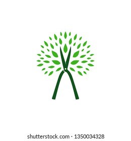tree cutting service logo vector icon illustration