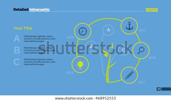 Tree Cycle Metaphor Diagram Slide Template Stock Vector