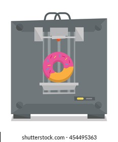 Tree D printer making a doughnut vector flat design illustration isolated on white background.