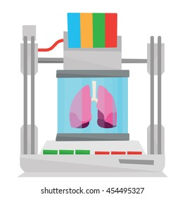 Tree D printer making a lungs vector flat design illustration isolated on white background.