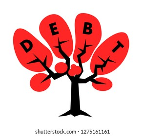 Tree with debt text in the crown - financial indebtness is growing - increase of liabilitiesa and loans - negative economics with economical burden