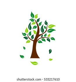 Tree with deciduous leaves. Ecology vector illustration
