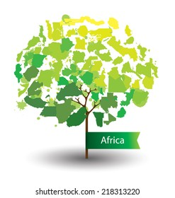 Tree design. Countries in Africa.  World  Map vector Illustration.