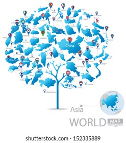 Tree design. Countries in Asia. flag. World Map vector Illustration.