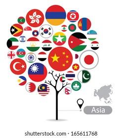 Tree design. Flag of Asia. vector Illustration.