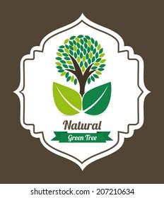 tree design over brown background vector illustration
