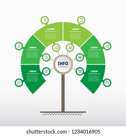 Tree of development and growth of the business. Timeline of Social tendencies and trends graph. Green Business concept with 6 options, parts or processes. Vertical Time line infographics with 6 points