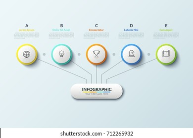 Tree diagram. Main element connected with 5 thin line icons placed inside paper white circles and lettered text boxes. Hierarchy representation. Modern infographic design layout. Vector illustration.