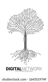 Tree from digital line connect dot circuit board style. Background concept for digital transformation.