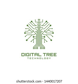 Tree and digital symbols with modern high-tech logo