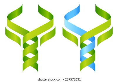 Tree DNA symbol, a DNA double helix growing into a stylised plant tree shape. Great for medical, science, research or other nature related use.