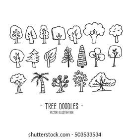 Tree doodles, Vector illustration