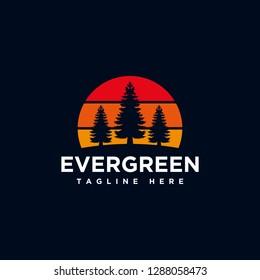 Tree Evergreen logo, Pine tree Logo design inspiration - Vector