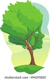 tree with a face resilience cartoon illustration