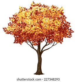 Tree in fall isolated on white. Eps8. CMYK. Organized by layers. Global colors. Gradients free.