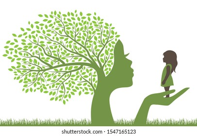 tree with female face holding little girl, vector
