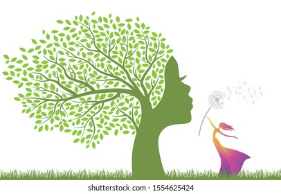 tree with female face, and miniature lady with dandelion flower, vector
