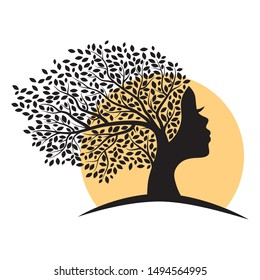 tree with female face and sunset in behind, vector