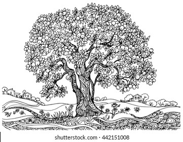 the tree of fertility. illustration drawing on paper. a tree with a harvest of apples .monochrome contour picture