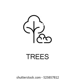 Tree flat icon. Single high quality outline symbol of spring for web design or mobile app. Thin line signs of tree for design logo, visit card, etc. Outline pictogram of tree