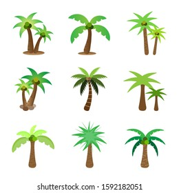 Tree flat icon style.Coconut palm tree collection set isolated on white background.Green leaf forest.Ecology concept.Design for clipart.Using for decorate your work.Vector.Illustration.