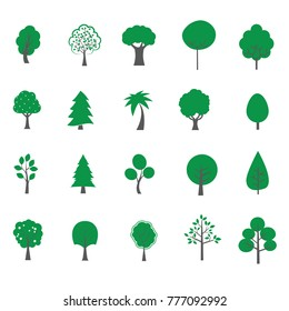Tree flat style on background White color vector illustrator.
