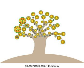 tree with flowers - illustration