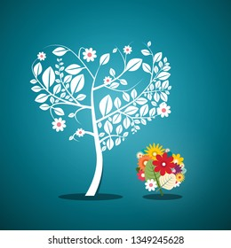 Tree with Flowers on Blue Background. Vector Flat Design Spring Garden Background.