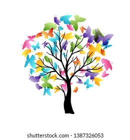 Tree with flying around color butterflies. Vector isolated decoration element from scattered silhouettes. Conceptual illustration of growth and life .