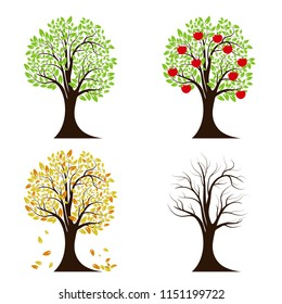 Tree in four seasons. Spring, summer, autumn, winter. Isolated on white background. Vector illustration.