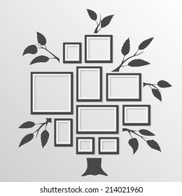Tree with frames on the wall. Tree photo frames object on a white background, Vector illustration
