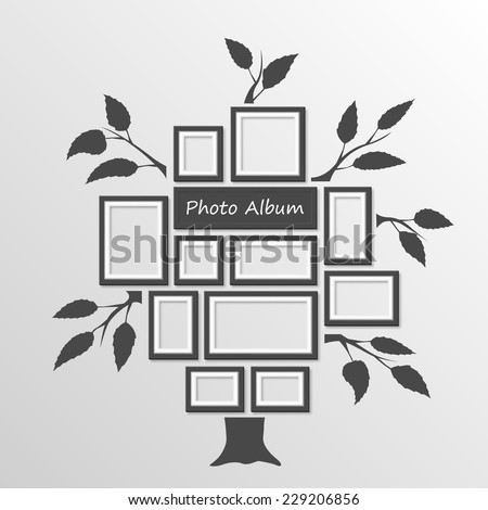 Tree Frames On Wall Tree Photo Stock Vector (Royalty Free) 229206856 ...