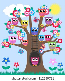 a tree full of owls