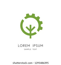 Tree and gear wheel logo - plant and pinion symbol. Green power and alternative energy source, industry and nature, environment and ecology vector icon.