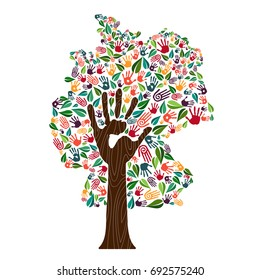 Tree with german country shape and human hand prints. Germany world help concept illustration for charity work, environment care or social project. EPS10 vector.