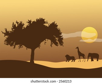A tree, giraffe, elephant, and lion silhouette with an African sunset in the background