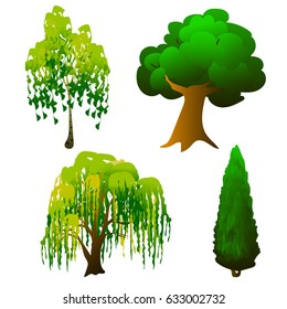 Tree with green crown Vector Illustration EPS10