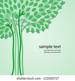 Tree with green leaves. And background for text. Illustration.