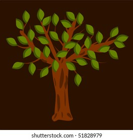 Tree with green leaves on brown background. Vector illustration