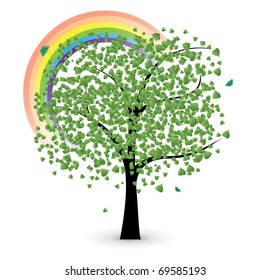 tree with green leaves, rainbow and butterfly, vector illustration