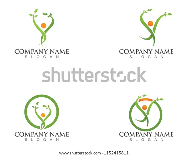 Tree green people identity card vector logo template
