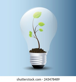 Tree grow in a light bulb. Vector illustrations.