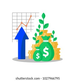 Tree growing on coins stack with Mutual fund, Income increase, financial strategy performance, interest rate, budget balance, revenue growth, credit money, flat icon, Vector illustration