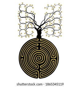 Tree growing from round spiral maze or labyrinth. Creative concept. Mystery of life. Black and gold silhouette.