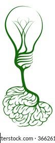 A tree growing in the shape of a lightbulb from brain shaped roots. Could be a concept for ideas or innovation