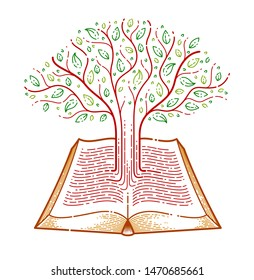Tree growing from text lines of an open vintage book education or science knowledge concept, educational or scientific literature library vector logo or emblem.