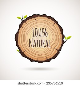 Tree growth rings logo icon, vector background and saw cut tree trunk. Logo template. Corporate icon. Brand visualization. Eco, bio, organic, natural concept.